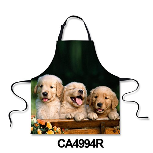 HUGS IDEA Cute Golden Retriever Pattern Novelty Adjustable Apron for Kitchen BBQ Backing Cooking Grill