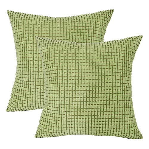 LINENLUX 2 Pack Corduroy Soft Soild Decorative Square Throw Pillow Covers Set Cushion Case for Sofa Bedroom Car (Green, 18 x 18 Inch) ()