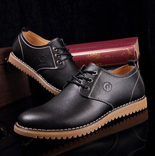 Neuves D'Affaires qianchuangyuan à Chaussures PU Noir Cuir de Chaussures Oxfords Lacets pour Hommes Ville Bout BAPXAwf