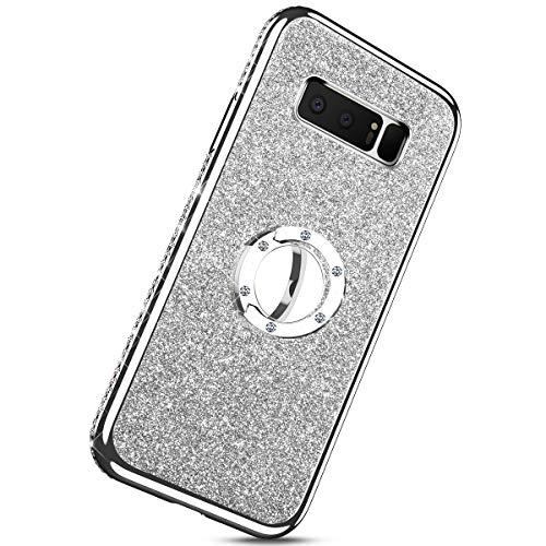 Samsung Housse 360 Kickstand Béquille Argent Compatible Étui Rotation 8 argent Avec Souple Strass Diamant Anneau Bumper Galaxy Coque morechioce Glitter Bling Protection Silicone De Note fSET76wwq