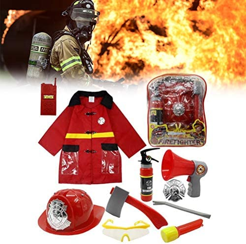 Konrev 子供 消防士 衣装セット 消防士コート ごっこ遊び 子供用おもちゃ コスチューム ハロウィン コスプレ 衣装 コスチューム キッズ なりきり 男の子 帽子 小物 工具付き 7~14歳の子供対応 10PCS