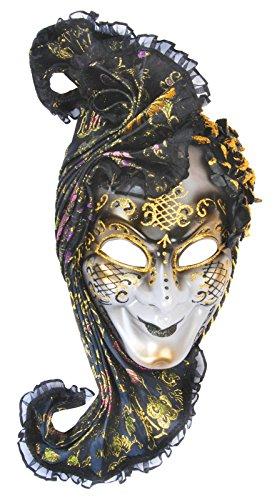 Loftus International Headpiece Full Face Masquerade Venetian Mask Black Gold One Size Novelty -