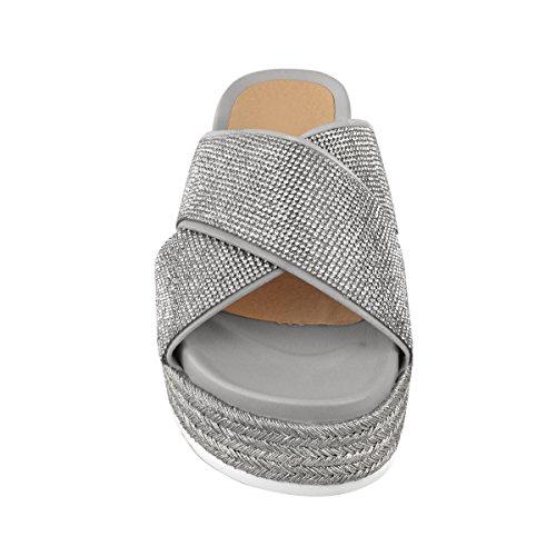 Fashion Thirsty Womens Diamante Slip On Sandals Flatforms Sparkly Platform Summer Size Silver Metallic 4WwYkB