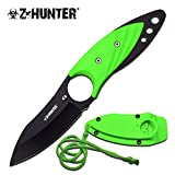 Neck Knife and Sheath. For Tactical Warrior, Men, Women! Best Small Fixed Blade with Paracord. Use for Survival, Keep Hidden, Finger Hole. Thin Green Full Tang Necklace or Boot. Z-hunter. New. For Sale