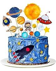 Cake Topper Ruimte Thema Gelukkige Verjaardag Cake Decoraties voor Kid jongens Gepersonaliseerde Astronaut Cupcake Toppers voor 1e 2ed Kids Verjaardagsfeestje 16 Stks