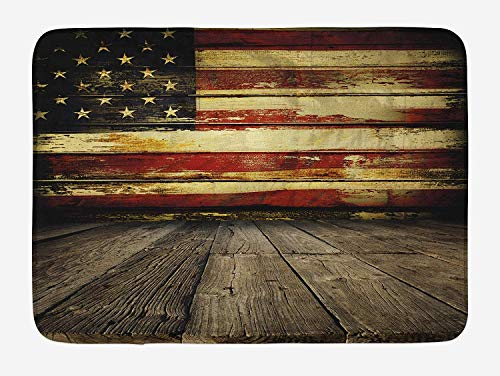 - TAQATS United States Bath Mat, Vintage American Flag on Wooden Planks Wall Background Grunge Print, Plush Bathroom Decor Mat with Non Slip Backing, 23.6 W X 15.7 W Inches, Umber Cream Red Blue