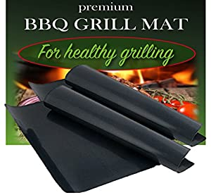BBQ Grill Mat by Dutch Goods - Set of 2 - 100% Non-Stick Barbecue Mats for Healthy Grilling and Baking. Reusable, Dishwasher Safe Sheets, Perfect for Gas, Charcoal, Electric Grills and Ovens. by Dutch Goods