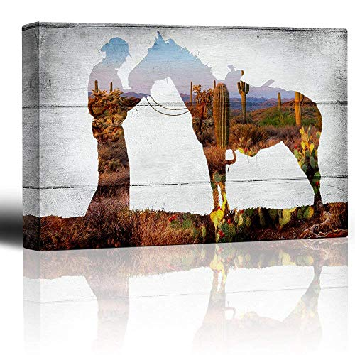 Bingigo Canvas Prints Wall Art Paintings - Desert Landscape Scene Through a Horse and Rider Silhouette on a Rustic Wood Background - Country Western Artwork - Canvas Art Home Decor - 12