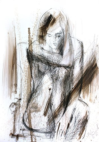 Woman Drawing Nude Print, Charcoal Female Figure Nudity Sketch, Wall art Poster