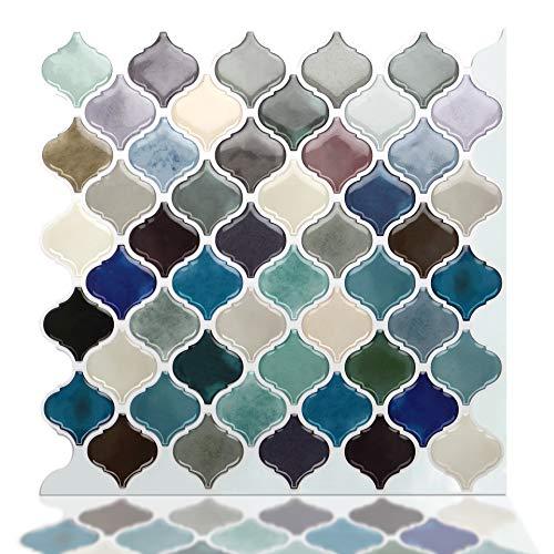 STICKGOO Premium Peel and Stick Tile Backsplash, Arabesque Self Adhesive Wall Tiles, Stick on Backsplash for Kitchen & Bathroom, Pack of 6 ()