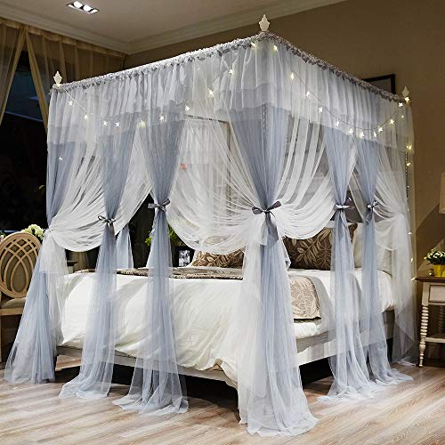 Joyreap 4 Corners Post Canopy Bed Curtains for Girls - Grey & White Cozy Drape Netting - 4 Openings Mosquito Net - Cute Princess Style Bedroom Decoration Accessories (Gray, 59