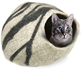 100% Natural Wool Large Cat Cave - Handmade Premium Shaped Felt - Makes Great Covered Cat House and Bed for Kitty. for Indoor Cozy Hideaway. Large Pod Soft Hooded Bed Area. (Beta Gray)
