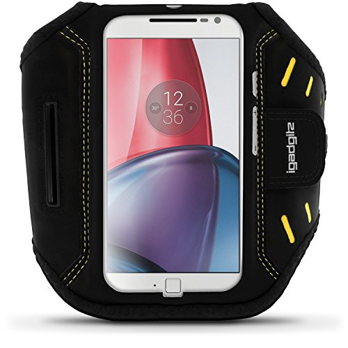 iGadgitz Black Water Resistant Lightweight Neoprene Sports Jogging Gym Armband for Motorola Moto G 4th Generation XT1622 (Moto G4) & Moto G4 Plus XT1644 with Key Slot