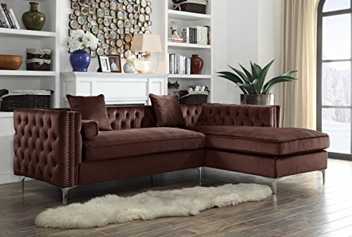 Iconic Home Da Vinci Right Hand Facing Sectional Sofa L Shape Chaise Velvet Button Tufted with Silver Nail Head Trim Silvertone Metal Y-Leg with 3 Accent Pillows, Modern Contemporary, Brown