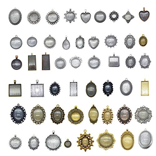 Julie Wang Antiqued Bronze Silver Setting Bezel Tray Pendant Blanks -No Duplicates (60 Bezels with Glass Cover)