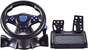 Racing Wheel, Universal USB Car 180 Degree Race Steering Wheel with Pedals for 360/PS3/P2/PC,Blue