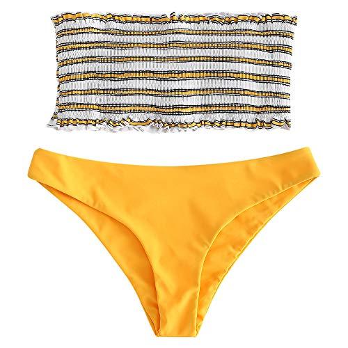 (ZAFUL Women's Striped Smocked Bandeau Bikini Set Strapless Shirred Padded Two Piece Swimsuits Bright Yellow M)