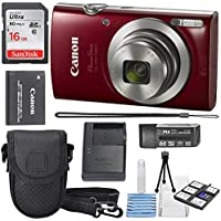 Canon PowerShot ELPH 180 Digital Camera (Red) + 16GB SDHC...