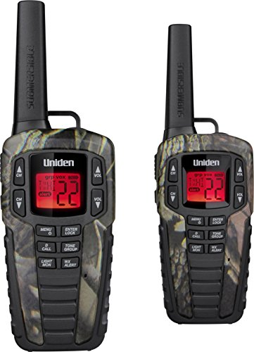 Up to 37 Mile Range FRS Two-Way Radio Walkie Talkies w/ Dual Charging Cradle, Waterproof, Floats, 22 Channels, 142 Privacy Codes, NOAA Weather Scan + Alert, w/ 2 Headsets, Camo ()