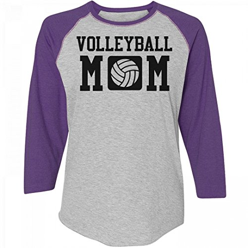 Customized Girl Plus Size Volleyball Mom Shirts: Ladies Relaxed Fit 3/4 Sleeve Raglan Tee - Womens All Star Rib Raglan