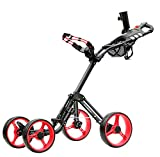 CaddyTek Superlite Explorer 4 Wheel Golf Push Cart, Red