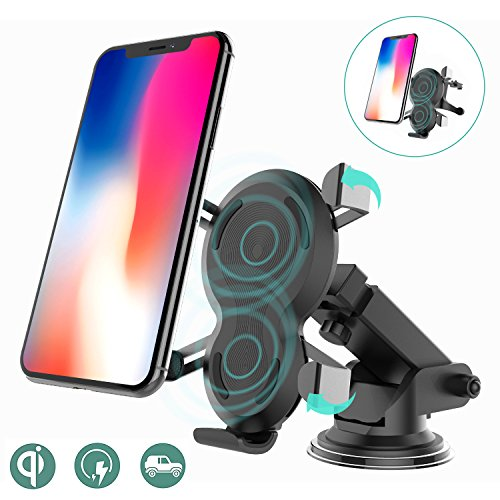 Alquar Qi Wireless Car Charger, Gravity Driven Auto Clamp Mount,Air Vent/Dashboard Suction,Fast Charging for iPhone X iPhone 8 8 Plus Samsung Galaxy S8 Plus by Alquar