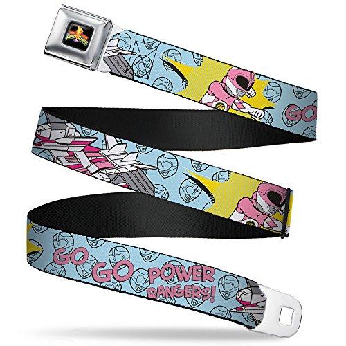 Buckle-Down Seatbelt Belt - Pink Ranger Punch Pose GO GO POWER RANGERS! Baby Blue/Pink - 1.0