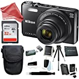 Nikon Coolpix S7000 16 MP Digital Camera (Black) + 32GB Memory Card + Rechargeable Replacement Lithium Ion Battery + Travel Quick Charger + Medium Point & Shoot Camera DigitalAndMore Accessory Bundle
