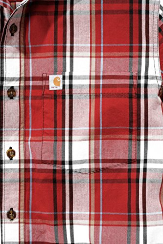 Carhartt Foncé Work Shirt Sleeve 102548 Plaid Mens Slim Fit Short Casual Cramoisi S1wgqBS