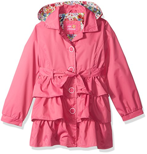 Pink Satin Lining (Pink Platinum Little Girls' 3 Tiered Ruffled Trench W/Satin Lining, Pink, 5/6)