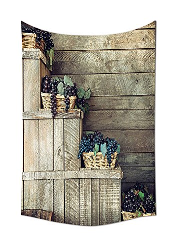 Grapes Home Decor Tapestry Various in Wooden Wicker Basket Ivy Viniculture Gourmet Organic Photo Wall Hanging for Bedroom Living Room Dorm Brown Purple