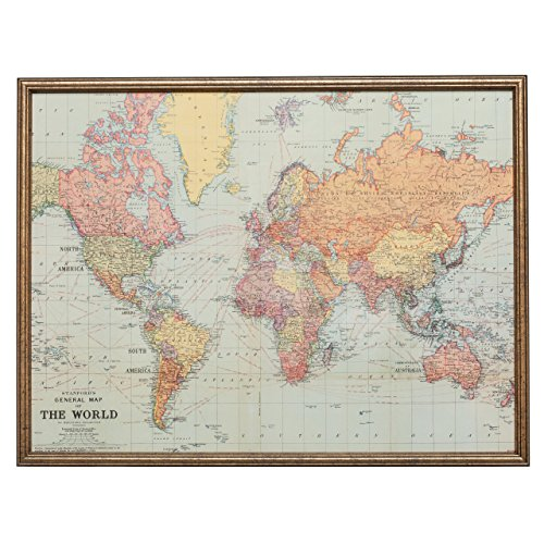 Wall Decor - LARGE Magnet Board - Magnetic Board - Dry Erase Board - Framed Bulletin Board - Classic World Map Design - includes magnets by MagnaMemos