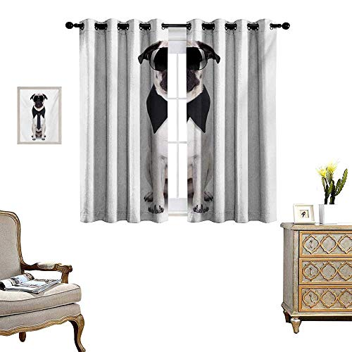 WinfreyDecor Pug Room Darkening Wide Curtains Cool Looking Dog Tie and Big Fancy Black Sunglasses Funny Canine Animal Comedy Image Customized Curtains W55 x L39 Black Cream ()