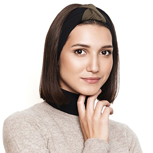 BLOM Original Multi Style Headband. for Women Yoga Fashion Workout Running Athletic Travel. Wear Wide Turban Thick Knotted + More. Comfort Stretch & Versatility. (Dark Olive & Black) (Best Travel Wear For Women)