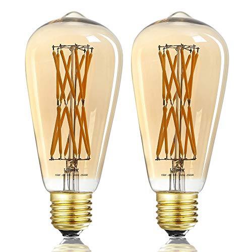 LEOOLS 15W Edison Style Vintage LED Filament Light Bulb,ST64 Led Retro Bulb,100 Watt Equivalent Light Bulbs,Amber Warm 2500K, (Amber Glass), E26 Filament Vintage Light Bulb,2-Pack.
