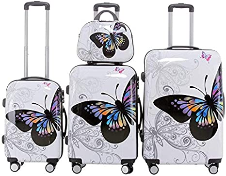 Coque rigide valise 4 roues spinner valise pc main cabine bagages trolley butterfly
