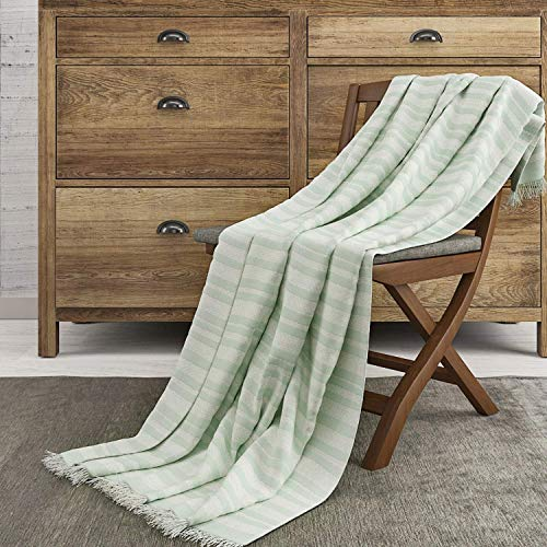 The Wish Tree Co. 50x60 Mint Luxury Knitted Cotton Stripe Throw Blanket with Fringe-, Super Soft, Warm, Lightweight (500 Grams) & Large for Bed, Chair, Couch, Sofa, Camping, Beach Or Travel