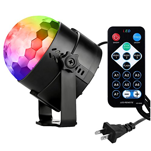 [2rd Generation] Spriak Led Projection Party Disco Ball DJ Lights 3w Strobe Rotating Magic Night Lights Show Sound