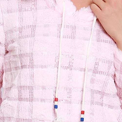 ZJSWCP Felpa Donna Inverno Manica Lunga Solido con Cappuccio Perline Felpa Maglione Camicetta Top Sudaderas Mujer Bluza Damska Felpe Donna 10,S