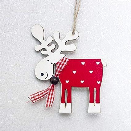 Haodou Anh/änger Holz Elch Weihnachten Deko Weihnachtsbaumdeko Weihnachtsbaumschmuck Weihnachts-Anh/änger f/ür Wohnzimmer B/üro 10cm*9cm Rot