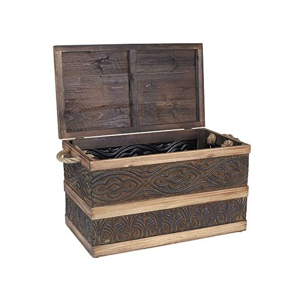 Household Essentials Decorative Metal Banded Wooden Storage Trunk with Handles, Large