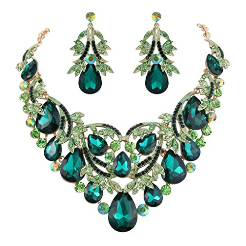 Emerald Green Costume Jewelry Sets (BriLove Women's Bohemian Boho Crystal Teardrop Filigree Leaf Hollow Statement Necklace Dangle Earrings Set Emerald Color Gold-Tone)