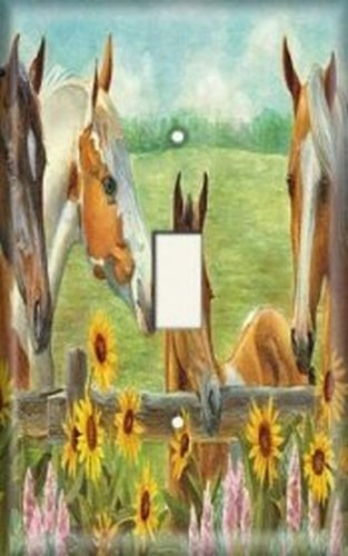 [Light Switch Plate Cover - Horses and Sunflowers] (Quad Light Switch Cover)
