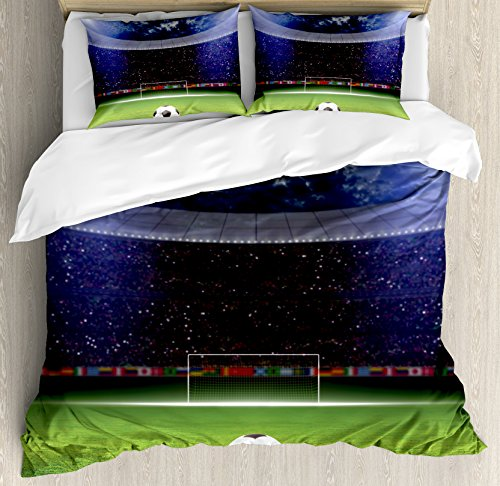 Ambesonne Sports Duvet Cover Set, Soccer Ball on Stadium Arena in The Night Fans Cheering Green Field, Decorative 3 Piece Bedding Set with 2 Pillow Shams, Queen Size, Navy Blue