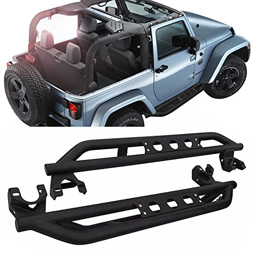 Side Step Bars Fits 2007-2017 Jeep Wrangler JK | Black Powder Coat Finish T304 Stainless Steel Running Boards Nerf Bars By IKON MOTORSPORTS | 2008 2009 2010 2011 2012 2013 2014 2015 2016