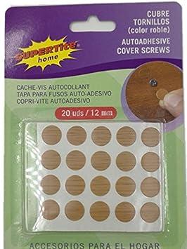 FERREIKEA Supertite - Embellecedor Cubre-Tornillos Adhesivo, Color Madera Roble.Ø 12 mm (20 Unidades(1 Paquete)): Amazon.es: Hogar