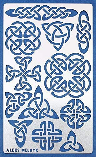 Aleks Melnyk #32 Metal Journal Stencil/Celtic Knot/Stainless Steel Stencil 1 PCS/Template Tool for Wood Burning, Pyrography and - Knot Metal Celtic