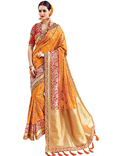 EthnicWear Mustard Art Silk New Traditional Latest Party Festival Wear Indian Pakistani Zari Designer Women Sari Saree Outfit by Ethnicwear