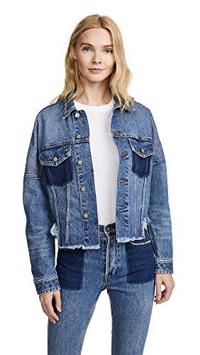 PRPS Women's Drop Shoulder Denim Jacket with Self Fringe, Indigo, X-Small Denim Fringe Jacket
