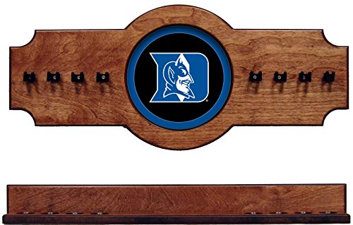 - wave NCAA Duke Blue Devils DUKCRR500-P 2 pc Hanging Wall Pool Cue Stick Holder Rack - Pecan